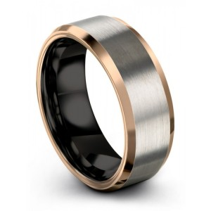 Brushed Silver Dark Knight 8mm Wedding Band