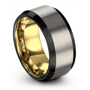 Brushed Silver Yellow Gold 10mm Wedding Band