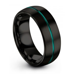 Dark Knight Aqua Teal 8mm Wedding Band