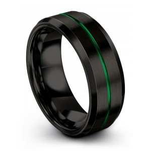 Dark Knight Emerald Zing 8mm Wedding Band
