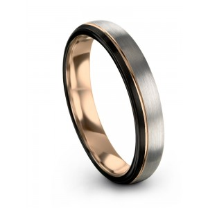 Dark Knight Galena Gray Rose Gold 4mm Wedding Band