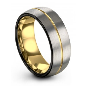 Dark Knight Galena Gray Yellow Gold 8mm Wedding Band