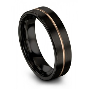 Dark Knight Rose Gold 6mm Wedding Band