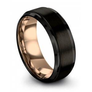 Dark Knight Rose Gold 8mm Wedding Band