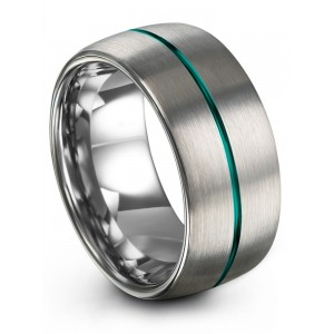 Galena Gray Aqual Teal 10mm Wedding Band