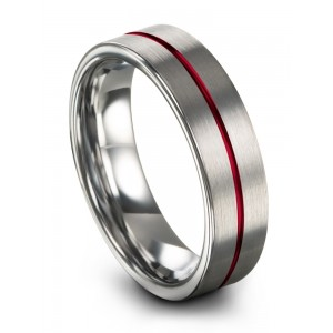 Galena Gray Crimson Allure 6mm Wedding Band