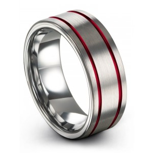 Galena Gray Crimson Allure 8mm Wedding Band