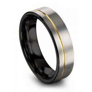 Galena Gray Dark Knight Yellow Gold 6mm Wedding Band