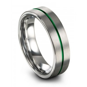 Galena Gray Emerald Zing 6mm Wedding Band