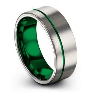 Galena Gray Emerald Zing 8mm Wedding Band