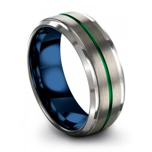 Galena Gray Empire Blue Emerald Zing 8mm Wedding Band