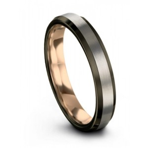 Galena Gray Moonlit Graphite Rose Gold 4mm Wedding Band