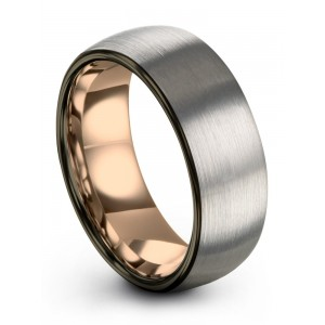 Galena Gray Moonlit Graphite Rose Gold 8mm Wedding Band