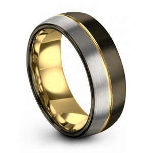 Galena Gray Moonlit Graphite Yellow Gold 8mm Wedding Band