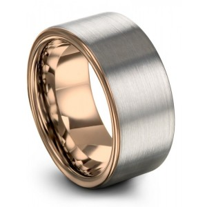 Galena Gray Rose Gold 10mm Wedding Band