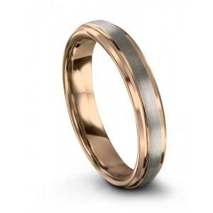 Galena Gray Rose Gold 4mm Wedding Band