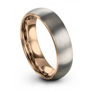 Galena Gray Rose Gold 6mm Wedding Band
