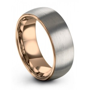 Galena Gray Rose Gold 7mm Wedding Band