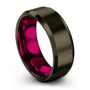 Moonlit Graphite Cosmic Flare 8mm Wedding Band