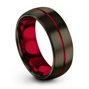 Moonlit Graphite Crimson Allure 8mm Wedding Band