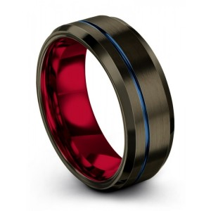 Moonlit Graphite Crimson Allure Empire Blue 8mm Wedding Band