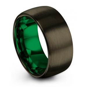 Moonlit Graphite Emerald Zing 10mm Wedding Band