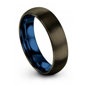 Moonlit Graphite Empire Blue 6mm Wedding Band