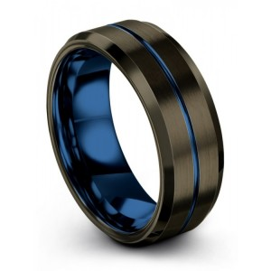 Moonlit Graphite Empire Blue 8mm Wedding Band