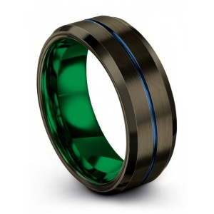 Moonlit Graphite Empire Blue Emerald Zing 8mm Wedding Band