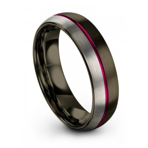 Moonlit Graphite Galena Gray Cosmic Flare 6mm Wedding Band
