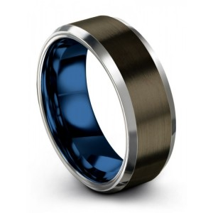 Moonlit Graphite Galena Gray Empire Blue 8mm Wedding Band