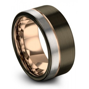Moonlit Graphite Galena Gray Rose Gold 10mm Wedding Band