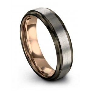Moonlit Graphite Galena Gray Rose Gold 6mm Wedding Band