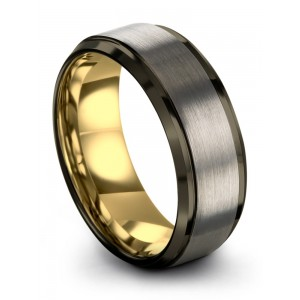 Moonlit Graphite Galena Gray Yellow Gold 8mm Wedding Band