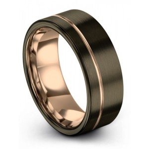 Moonlit Graphite Rose Gold 8mm Wedding Band