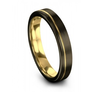 Moonlit Graphite Yellow Gold 4mm Wedding Band