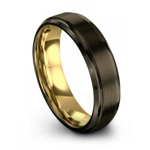 Moonlit Graphite Yellow Gold 6mm Wedding Band