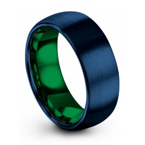 Empire Blue Emerald Zing 8mm Wedding Band