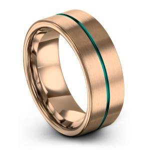 Rose Gold Aqua Teal 8mm Wedding Band