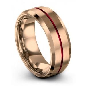 Rose Gold Crimson Allure 8mm Wedding Band