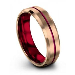 Rose Gold Crimson Allure Cosmic Flare 6mm Wedding Band