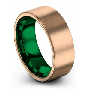 Rose Gold Emerald Zing 8mm Wedding Band
