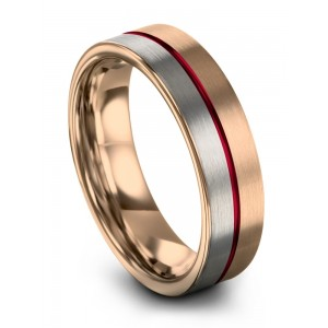 Rose Gold Galena Gray Crimson Allure 6mm Wedding Band