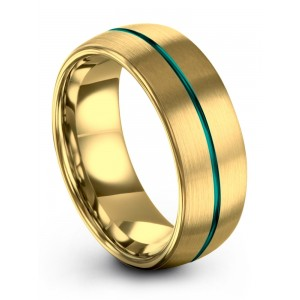 Yellow Gold Aqua Teal 8mm Wedding Band