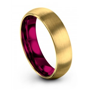 Yellow Gold Cosmic Flare 6mm Wedding Band