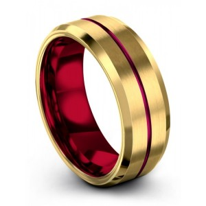 Yellow Gold Crimson Allure Cosmic Flare 8mm Wedding Band