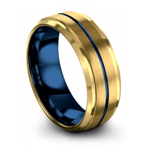 Yellow Gold Empire Blue 8mm Wedding Band