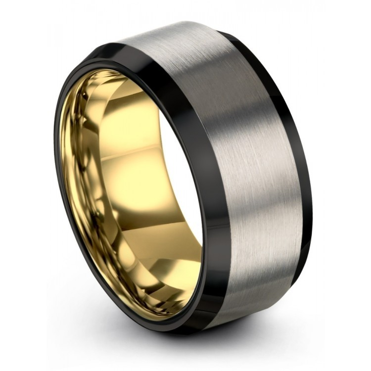 Brushed Silver Yellow Gold 10mm Unique Wedding Ring