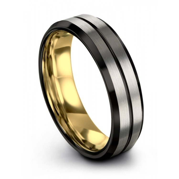 Brushed Silver Yellow Gold 6mm Unique Wedding Ring