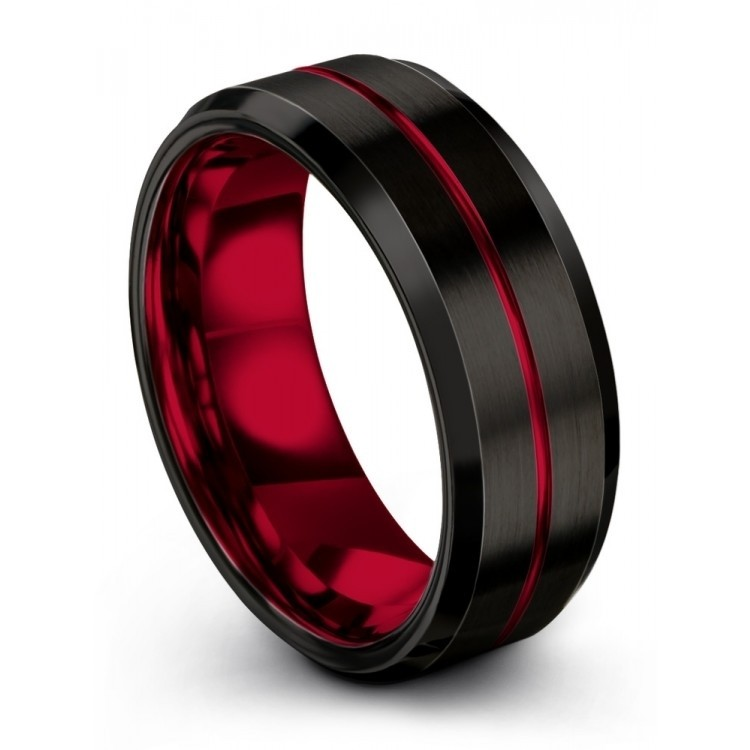 Crimson Allure 8mm Mens Wedding Band